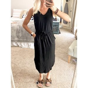 NWOT Black Midi Tie Waist Dress
